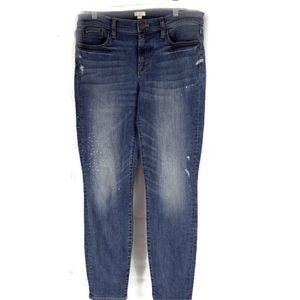 J.Crew Distressed Paint Splatter Skinny Jeans 29